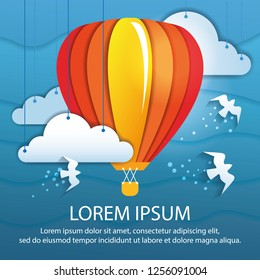 Air balloon vector illustration origami and paper collage style. Flying balloon with white birds in the clouds. Poster template