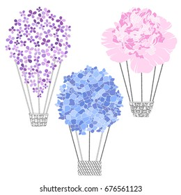 Air balloon-flowers. Vector illustration of three different variants.  Sketch, isolated elements for design.