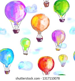 Air balloons artistic seamless pattern, painted image. Vector graphic illustration