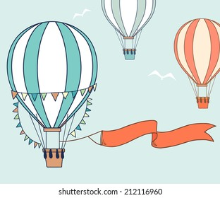Air balloons with party ribbon, flags and birds. Vector illustration