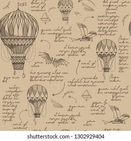 Air balloons seamless pattern. Vintage background. Leonardo da vinci style.