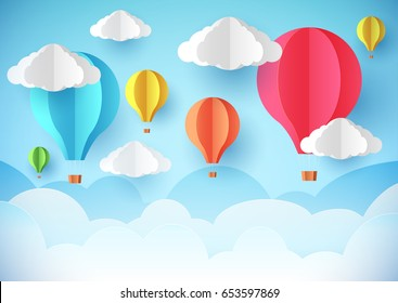 Air balloons in the sky. Template flyer, banner or poster. Paper style.