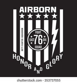 Air born fighter typography, t-shirt graphics, vectors