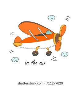 In the air card with plane.  hand drawn vector illustration.