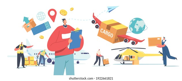 Air Cargo Transportation, Aircraft Logistics, Delivering Goods by Airplane, Helicopter or Drone. Characters Loading Boxes on Plane and Quadcopter for Shipping. Cartoon People Vector Illustration