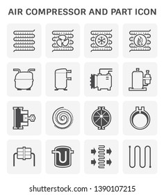 Air compressor or air condenser unit is a part of air conditioning HVAC systems. Vary type of compressor such as reciprocating, scroll, rotary, rotary vane. Including receiver. Vector icon design.