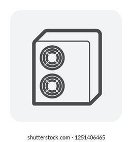Air compressor icon, black color.