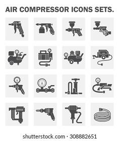 Air compressor icons sets.