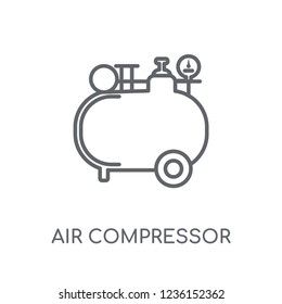 Air compressor linear icon. Modern outline Air compressor logo concept on white background from Construction collection. Suitable for use on web apps, mobile apps and print media.