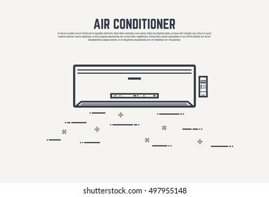 Air condition flat style thin line design concept. Conditioner with remote control and display.