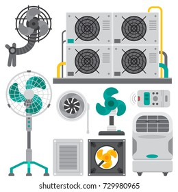 Air conditioner airlock systems equipment ventilator conditioning climate fan technology temperature cool vector illustration