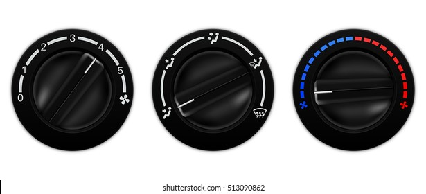 Air conditioner car switch. Black selector for temperature, fan speed. Vector illustration isolated on white background