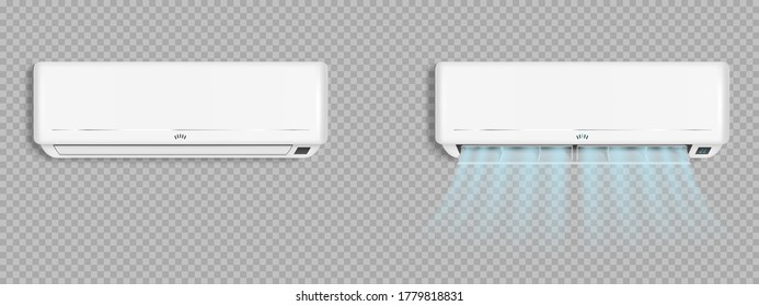 Air conditioner with cold wind waves, conditioning off and on regime for home and office, electronic modern appliance for controlling temperature and climate in room, realistic 3d vector illustration