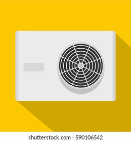Air conditioner compressor unit icon. Flat illustration of air conditioner compressor unit vector icon for web isolated on yellow background