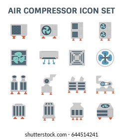 Air conditioner and air compressor vector icon set.