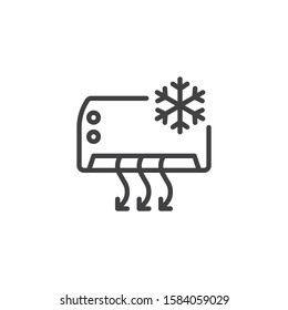 Air conditioner cooling function line icon. linear style sign for mobile concept and web design. AIR conditioning system outline vector icon. Symbol, logo illustration. Vector graphics