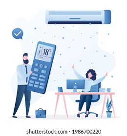 Air conditioner cools air. Businessman using big remote control, happy businesswoman at workplace. Office workers relaxes in cool room. Household appliances help make life comfortable. Flat vector