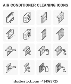 Air conditioner and air filter cleaning icon sets.