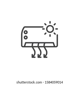 Air conditioner heating function line icon. linear style sign for mobile concept and web design. AIR conditioning system outline vector icon. Symbol, logo illustration. Vector graphics