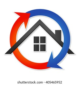 Air conditioner House symbol for business