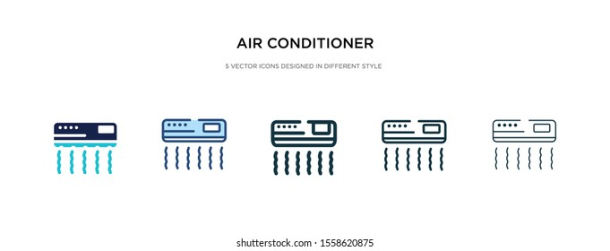 air conditioner icon in different style vector illustration. two colored and black air conditioner vector icons designed in filled, outline, line and stroke style can be used for web, mobile, ui