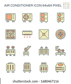 Air conditioner icon. Including with air compressor, condenser unit, ventilation, duct and chiller. That is a part of HVAC systems to removing heat and moisture from interior.  Vector icon set design.