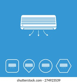 Air Conditioner Icon on Flat UI Colors with Different Shapes. Eps-10.