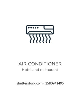 Air conditioner icon. Thin linear air conditioner outline icon isolated on white background from hotel collection. Line vector sign, symbol for web and mobile
