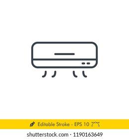 Air Conditioner Icon / Vector - In Line / Stroke Design