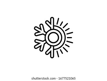 Air conditioner logo sign symbol, Hot and cold symbol black and white.