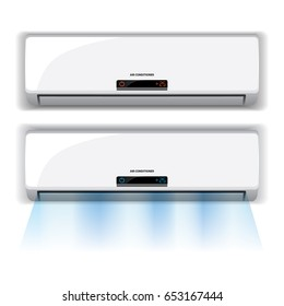 Air conditioner realistic on white background, vector illustration