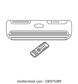 Air conditioner with remote control icon in outline style isolated on white background. Office furniture and interior symbol stock vector illustration.