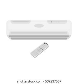 Air conditioner with remote control icon in monochrome style isolated on white background. Office furniture and interior symbol stock vector illustration.