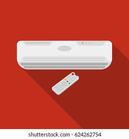 Air conditioner with remote control icon in flat style isolated on white background. Office furniture and interior symbol stock vector illustration.