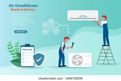 Air conditioner repair and installation service concept. Technician fixing and maintenancing air conditioner and compressor. Vector.