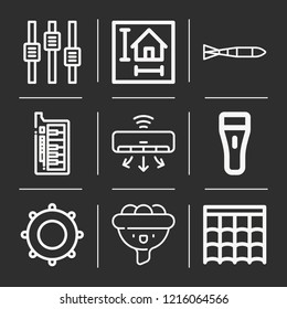 Air conditioner, roof, filter, blueprint, submarine torpedo, flashlight, control, tambourine icon set suitable for info graphics, websites and print media and interfaces