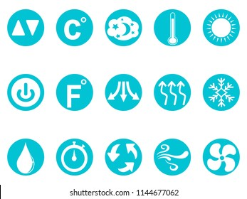 air conditioner round button icons set