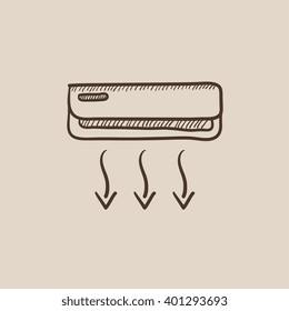 Air conditioner sketch icon.