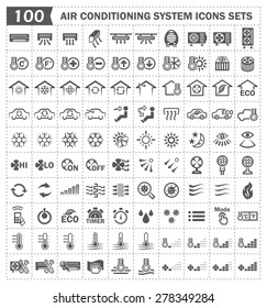 Air conditioner system or HVAC system vector icons sets.