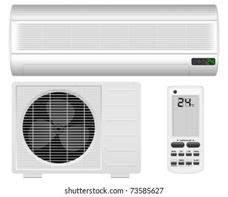 Air conditioner system on white background. Vector illustration.