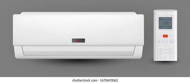 Air Conditioner System With Remote Control Vector. Cooling And Heating Block Of Conditioner For House Or Office. Climate Electronic Technology Equipment Template Realistic 3d Illustration