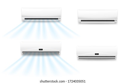 Air conditioner vector mockups with cold or hot wind flow. Realistic air conditioning split system indoor units with opened horizontal louvers and display panels, climate control for home or office