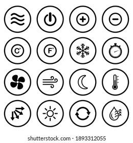 air conditioner, ventilations icon set vector sign symbol