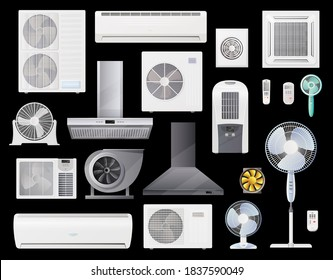 Air conditioners, fans and range hoods vector icons set of conditioning, home and industrial ventilation system. Climate control split units, air duct vent, wall and floor fans with remote control