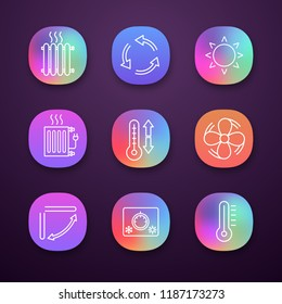 Air conditioning app icons set. Radiators, ventilation, sun, climate control, exhaust fan, conditioner louver, thermostat, thermometer. Web or mobile applications. Vector isolated illustrations