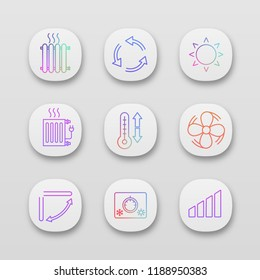 Air conditioning app icons set. Radiators, ventilation, sun, climate control, exhaust fan, louver, thermostat, level. UI/UX user interface. Web or mobile applications. Vector isolated illustrations