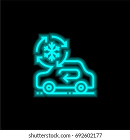 Air conditioning blue glowing neon ui ux icon. Glowing sign logo vector