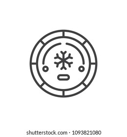 Air conditioning button outline icon. linear style sign for mobile concept and web design. Air conditioner car switch simple line vector icon. Symbol, logo illustration. Pixel perfect vector graphics