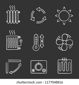 Air conditioning chalk icons set. Radiators, ventilation, sun, climate control, exhaust fan, conditioner louver, thermostat, heating element. Isolated vector chalkboard illustrations
