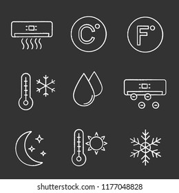 Air conditioning chalk icons set. Conditioner, Celsius, Fahrenheit, winter and summer temperature, water drop, ionizer, night mode, snowflake. Isolated vector chalkboard illustrations